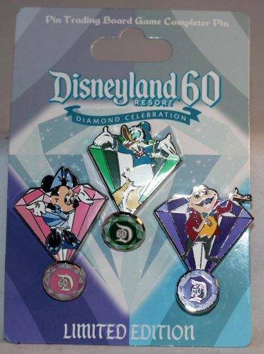 Disneyland 60th Anniversary Diamond Celebration Board Game 3-Token Pin Set L.E. 3000