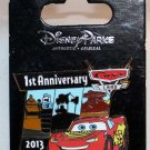 Disneyland Reort Cars Land 1st Anniversary 2013 Pin Lightning McQueen Limited Edition 2000