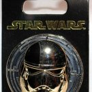 Disney Parks Star Wars The Last Jedi Judicial Stormtrooper Sculpted Chrome Helmet Pin