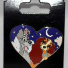 Disney Parks Lady and the Tramp in Nighttime Heart Pin