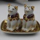 Blue and Pink  Cat Thai Porcelain or Benjarong Set of Salt &Pepper Shaker 24725