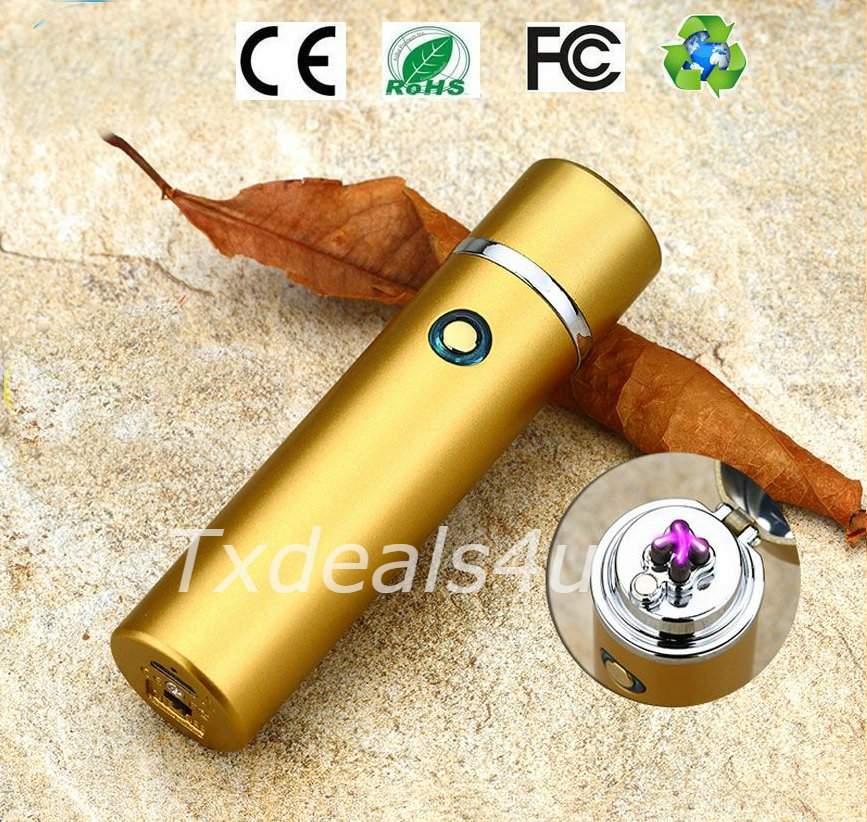 Matte Gold Dual Arc Electric USB Lighter Rechargeable Plasma Windproof Flameless Cigar Pipe