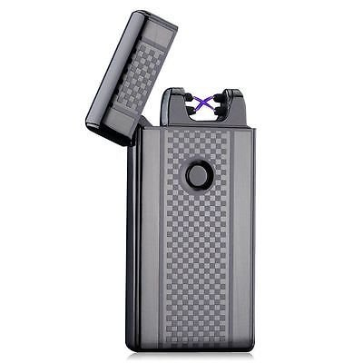 Gunmetal Checkered Dual Arc Electric USB Lighter Rechargeable Plasma Windproof Flameless Cigarette