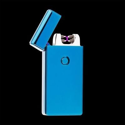 Blue Dual Arc Electric USB Lighter Rechargeable Plasma Windproof Flameless Cigarette