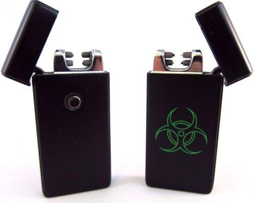 Biohazard Dual Arc USB Lighter Rechargeable Plasma Windproof Flameless Cigarette