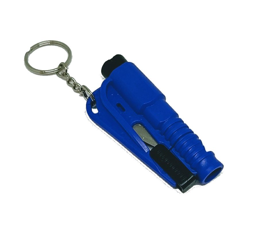 3 in 1 Mini Emergency Safety Hammer Auto Car Window Glass Breaker Cutter Whistle Escape Tool (Blue)