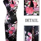 Long Chinese Dress: Black and Pink