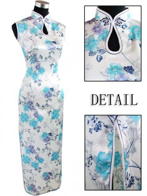 Long Chinese Dress: White and Blue