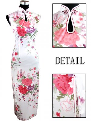 Long Chinese Dress: White and Red