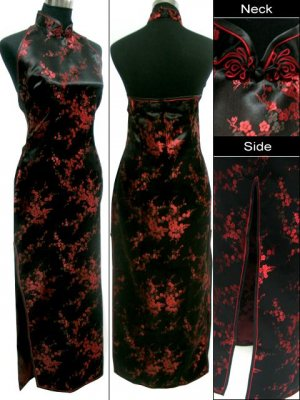 Backless Chinese Dress: Black and Red