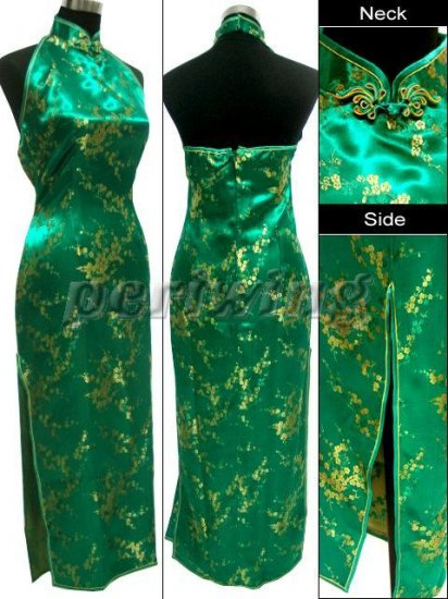 Chinese Backless Dress: Green and Gold