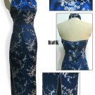Chinese Backless Dress: Navy Blue and White