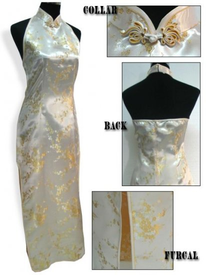Chinese Backless Dress: White and Gold