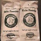 MLB A's Team Rain Poncho -Oakland  Baseball-2 Pack New White Athletics Logo
