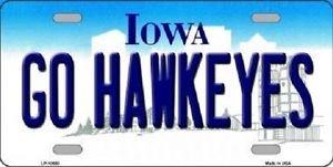 "Iowa Go Hawkeyes Vanity License Plate Tag 6""x 12"" NCAA  Metal Auto"