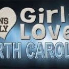 "This Girl Loves North Carolina License Plate Tag 6""x 12"" NCAA Heels Metal Auto"