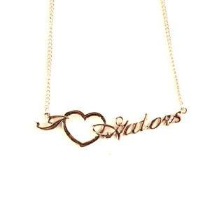 Florida Gators Necklace -Script  Heart + NCAA Logo Team Womens School