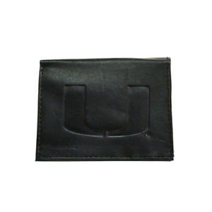 NCAA Miami Hurricanes Wallet Team Black Tri-Fold Leather Brand New Logo ACC