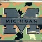 MICHIGAN LICENSE PLATE CAR TRUCK TAG WOLVERINES CAMO METAL EMBOSSED NCAA MU NEW