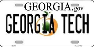 "NCAA Georgia Tech Vanity License Plate Tag 6""x 12"" Jackets  Team Metal Auto GT"