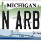 "Ann Arbor Vanity License Plate Tag 6""x12"" Michigan College Metal Auto NCAA"