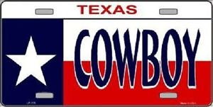 "Texas Cowboy Vanity Metal Novelty License Plate 6"" X 12"" State Auto Tag Car New"