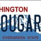 "Washington State Vanity License Plate Tag 6""x12"" College Team Cougar Metal Auto"