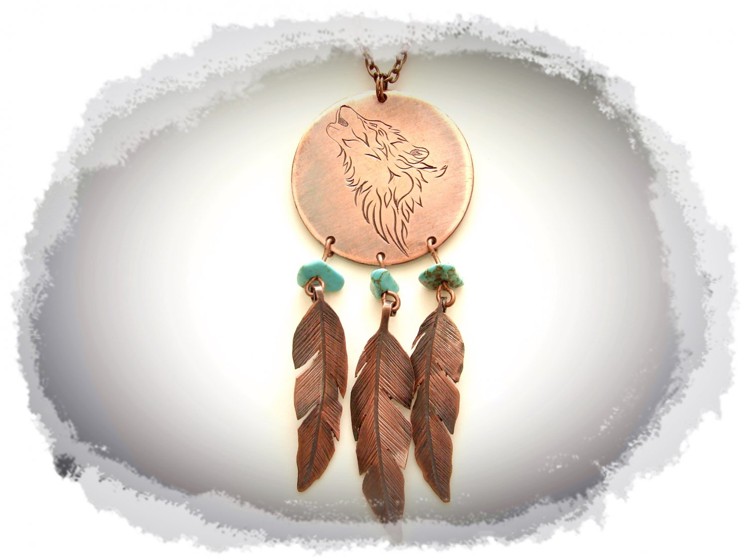 Boho Necklace, Hand-engraved Wolf and Feathers