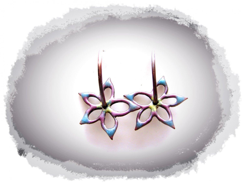 Copper Hoop earrings with flowers