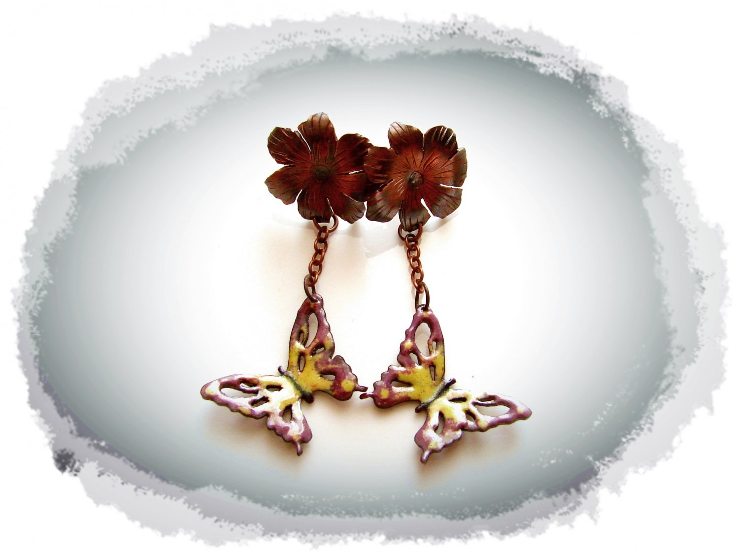 Copper earrings with flowers and butterflies