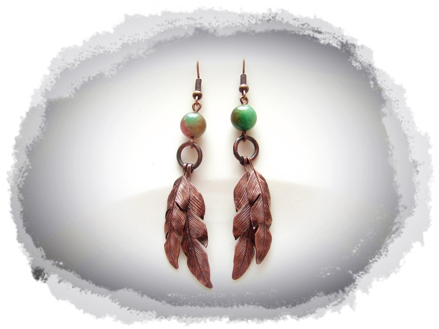 Earrings - Hand engraved feathers