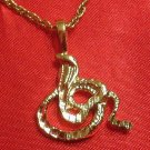 14K 14KT Double Gold Filled Cobra Snake Charm or Pendant
