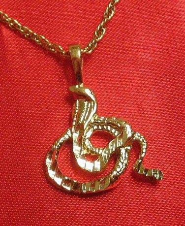 14K 14KT Double Gold Filled Cobra Snake Charm or Pendant