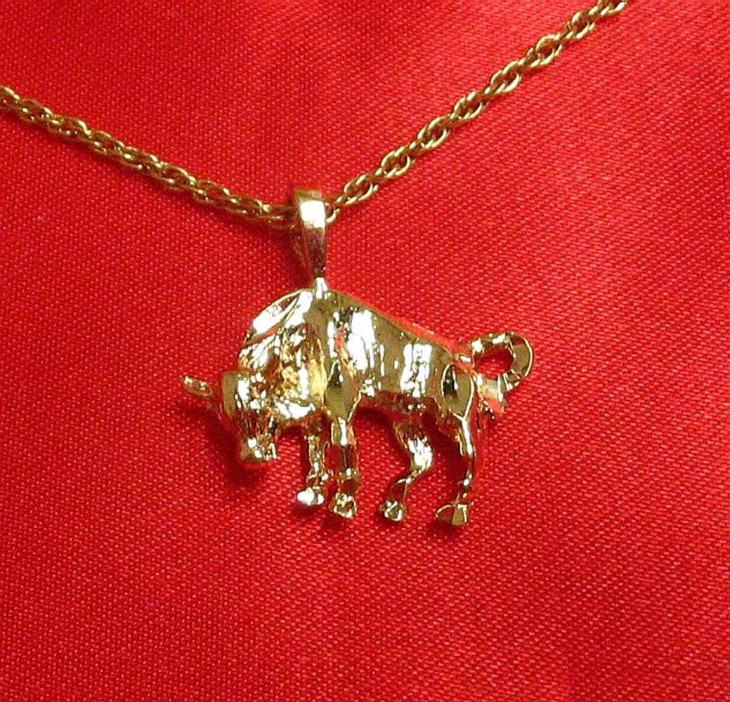 14K 14KT Double Gold Filled Bull Torro Charm or Pendant