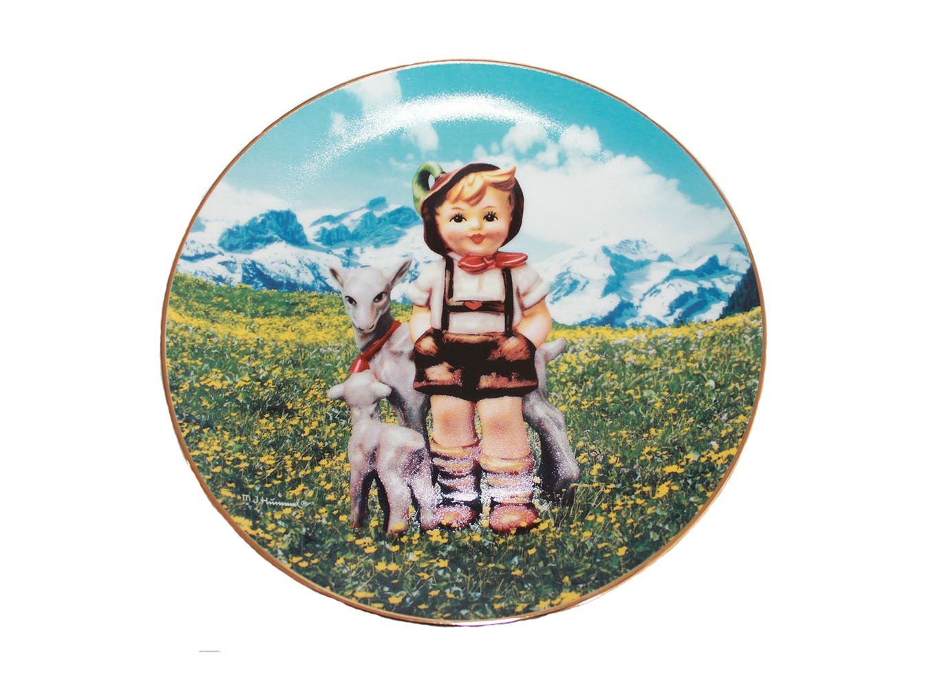 """Little Goat Herder by M. I. Hummel 8 1/4"""""""" Collectible Plate 23kt Gold Trim COA"""