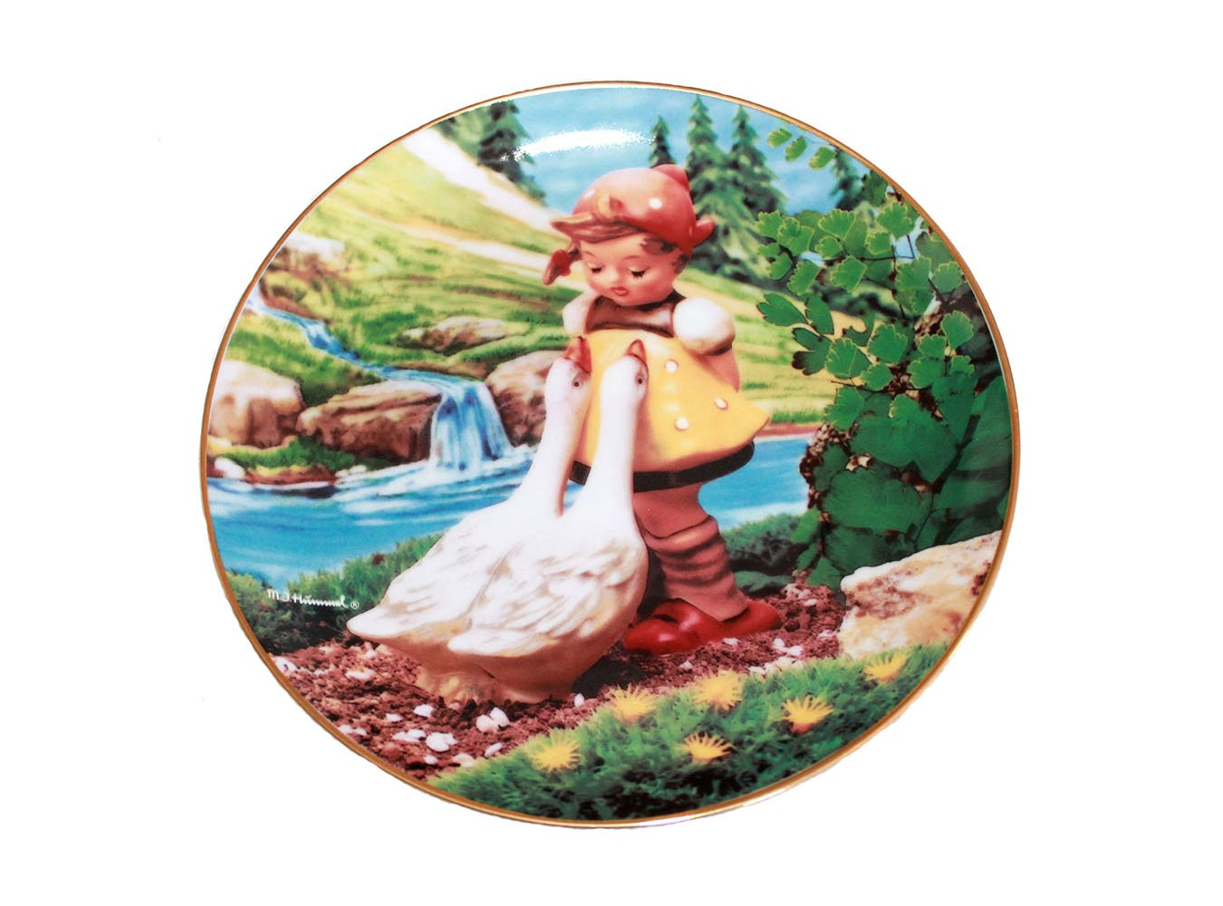 """Goose Girl by M. I. Hummel 8 1/4"""""""" Collectible Plate 23kt Gold Trim w/COA"""