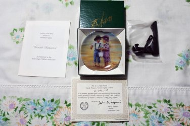 """Seaside Treasures by Donald Zolan Miniature 3 1/4"""""""" Collectors Plate with COA & Stand"""