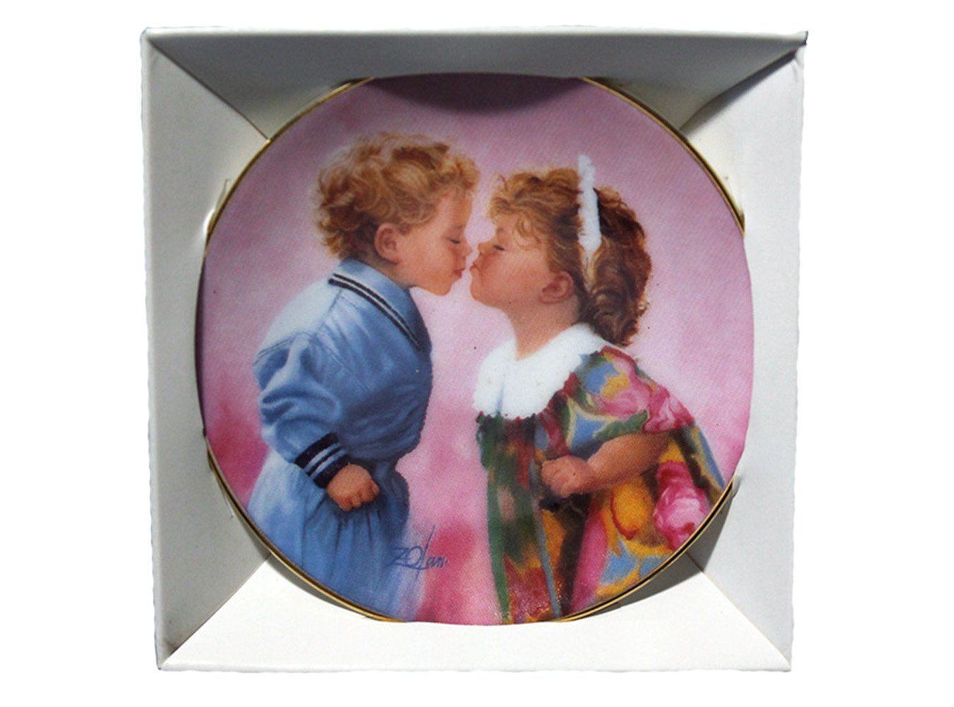 """Tender Hearts by Donald Zolan Miniature 3 1/4"""""""" Collectors Plate with COA & Stand"""
