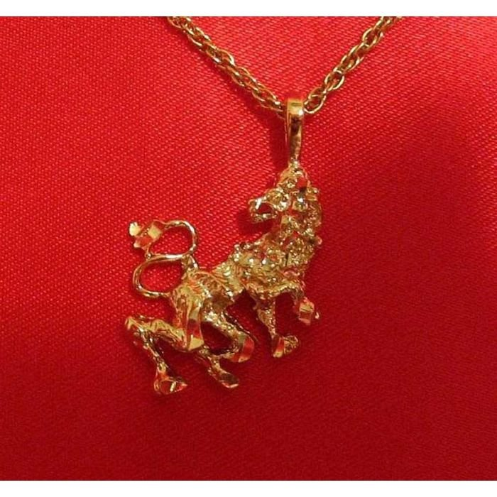 14K Double Gold Filled 3D Leo Lion Charm/Pendant Zodiac