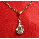 14K Double Gold Filled Tear Drop Crystal Charm/Pendant