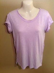 SO Medium Semi-sheer Pastel Purple Rolled Sleeve hi-low Tunic Tshirt