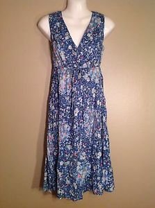 EDDIE BAUER NEW 6 COTTON BLUE FLORAL DRESS DRAWSTRING CROSS FRONT WRAP $79