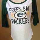 Women's Juniors Medium NWT NFL Sequin Green Bay PACKERS 3/4 Sleeve Tunic T-shirt