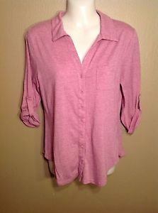 Mossimo Medium Button Down 3/4 Sleeve Pocket Pink Purple Heathered Shirt Top