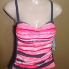 NEW WOMENS FREE COUNTRY GRAY PINK Adjustable TAKINI TOP SWIMSUIT SWIM Medium