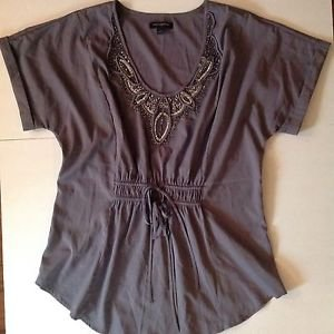 BANANA REPUBLIC Large Purple Mauve Beaded Tie Front Light Flattering Top Shirt