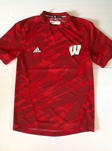 Men's Small adidas climalite Wisconsin Badgers Workout Short Sleeve  Shirt