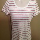 Merona Small White Burnt Orange Striped the Ultimate Tee Shirt