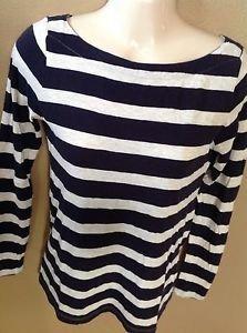 Ann Taylor LOFT Xs Navy Blue Heathered Nautical Striped Cotton Long Sleeve Shirt