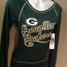 WOMEN JUNIOR XS NWT NFL GREEN BAY PACKERS METALLIC LONG SLEEVE SCOOP NECK TSHIRT